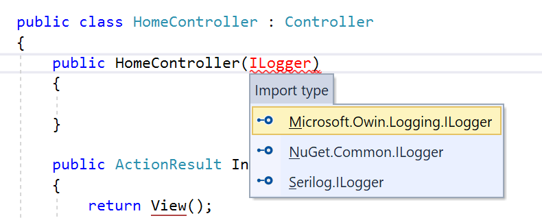 ILogger IntelliSense