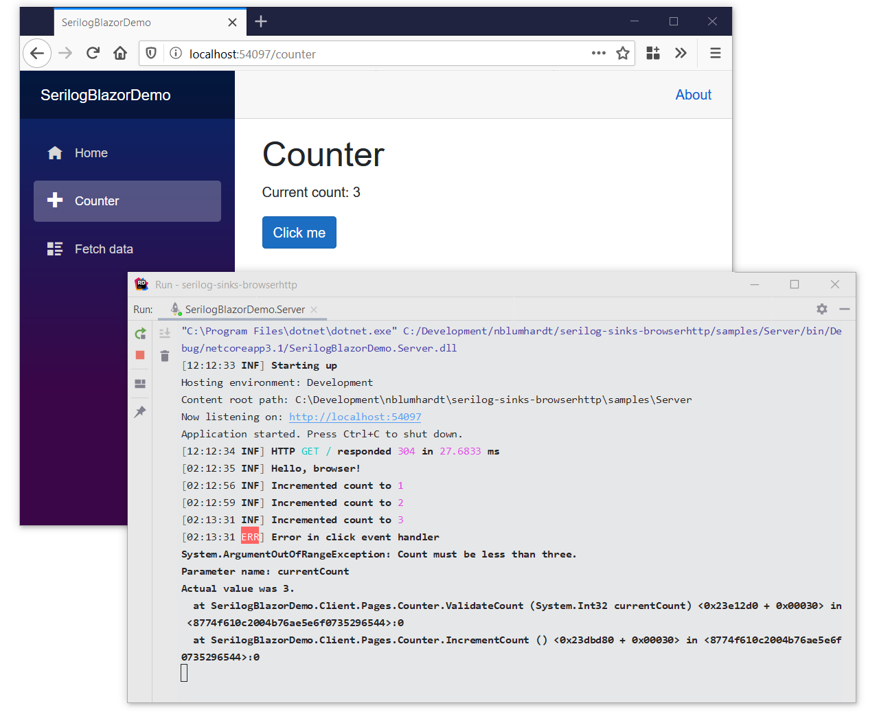 Blazor client log events in the server Console